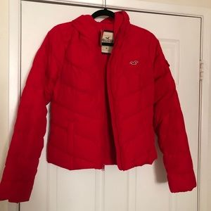 Hollister red puffy jacket women's